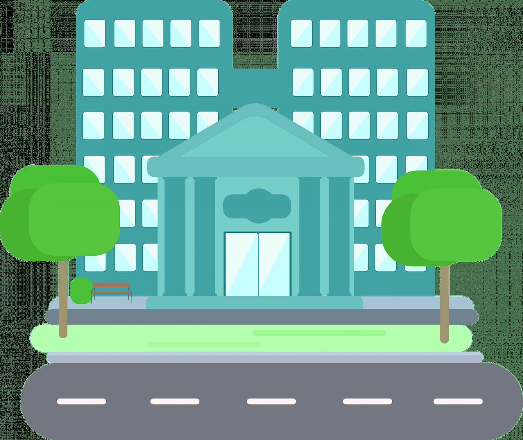Tecknad bild av ett höghus med pampig ingång