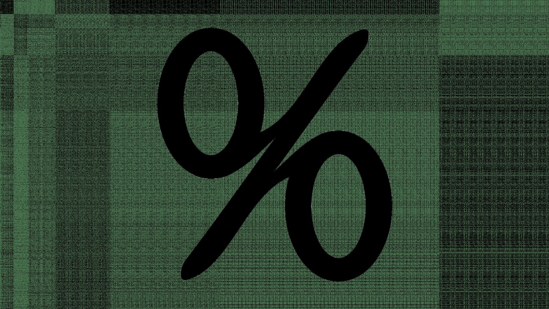 Animerad bild med svart procenttecken