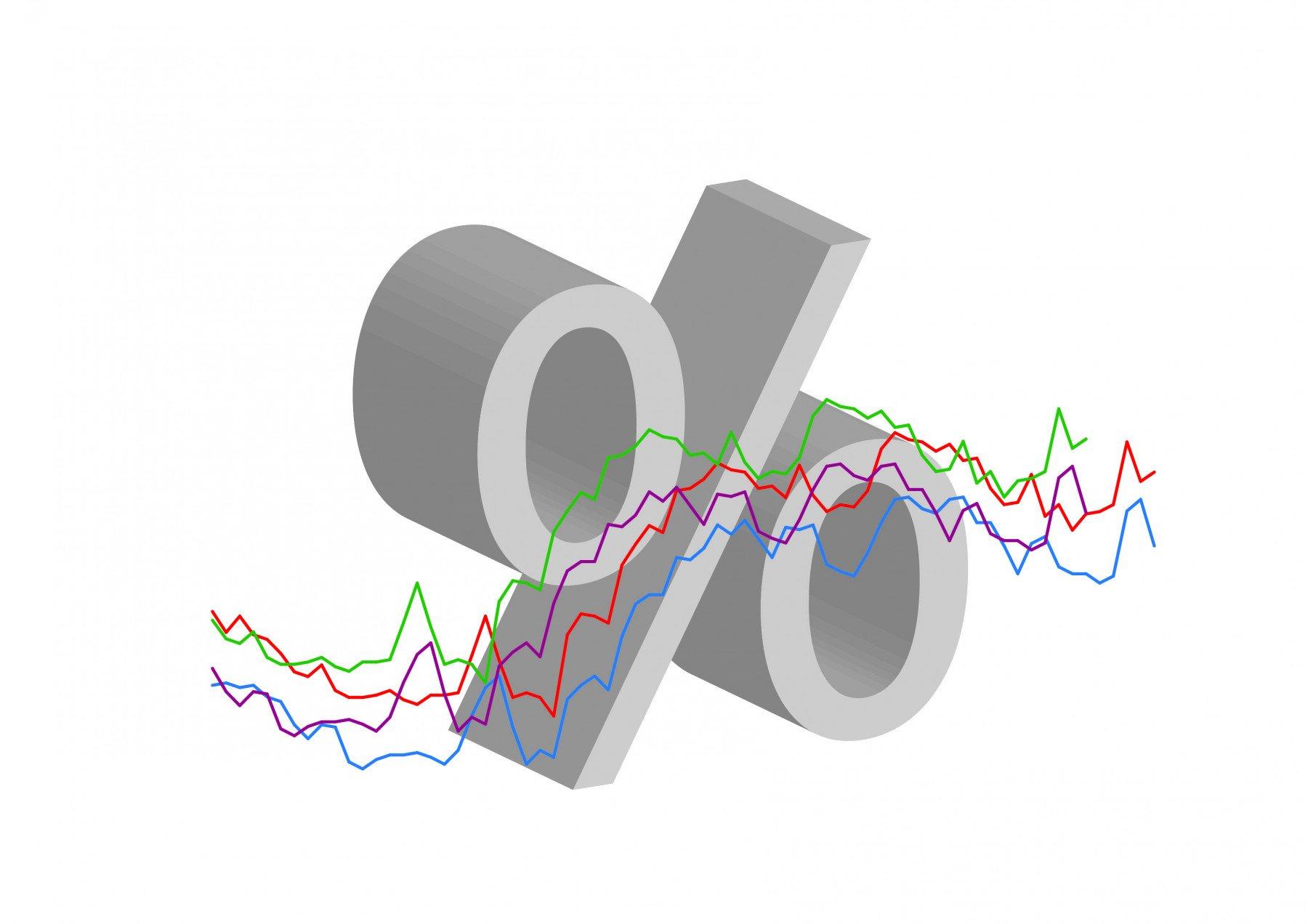 Animerad procenttecken med fyra grafer framför i olika färger