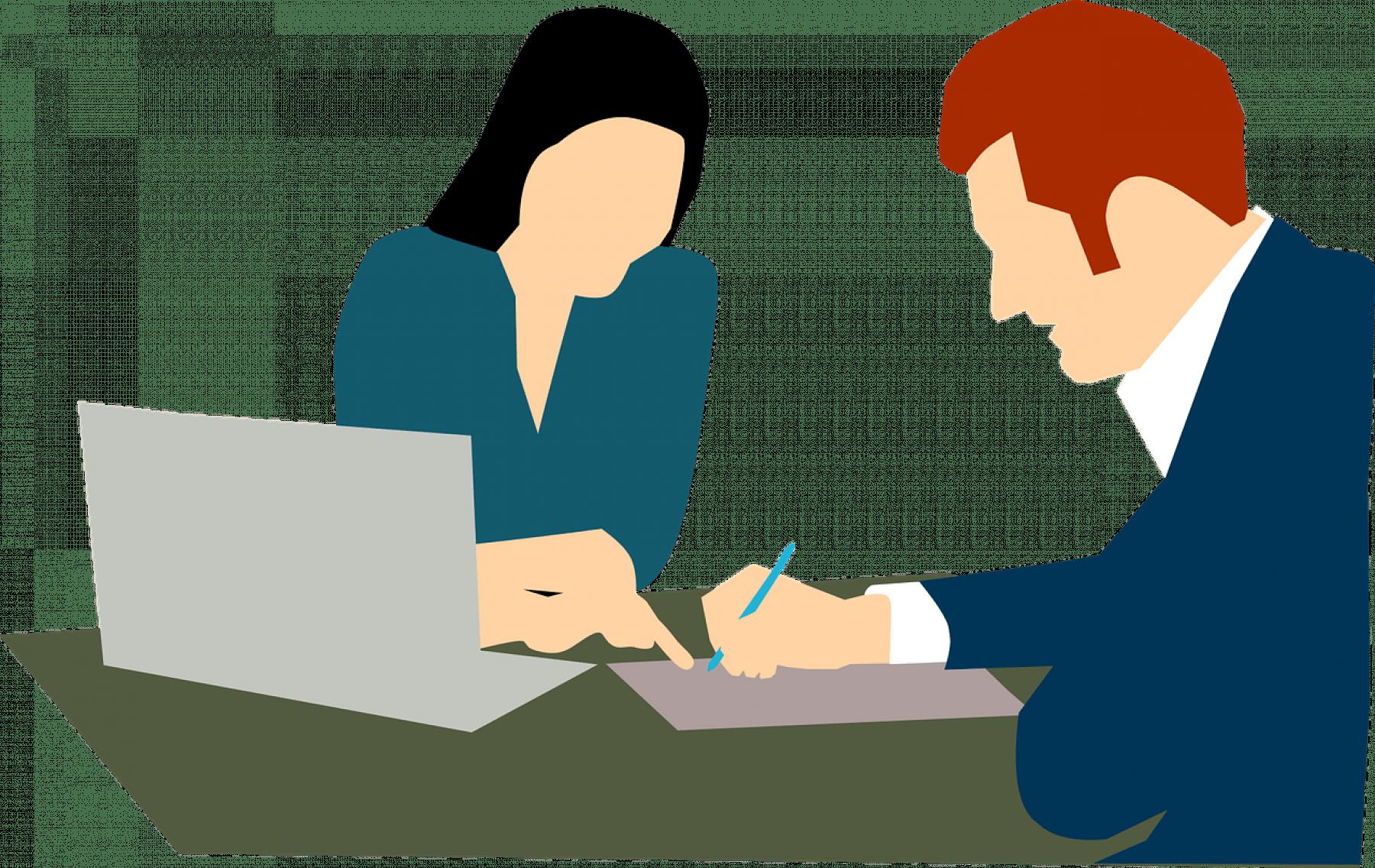 Animerad bild där två personer sitter vid ett bord med en laptop och papper