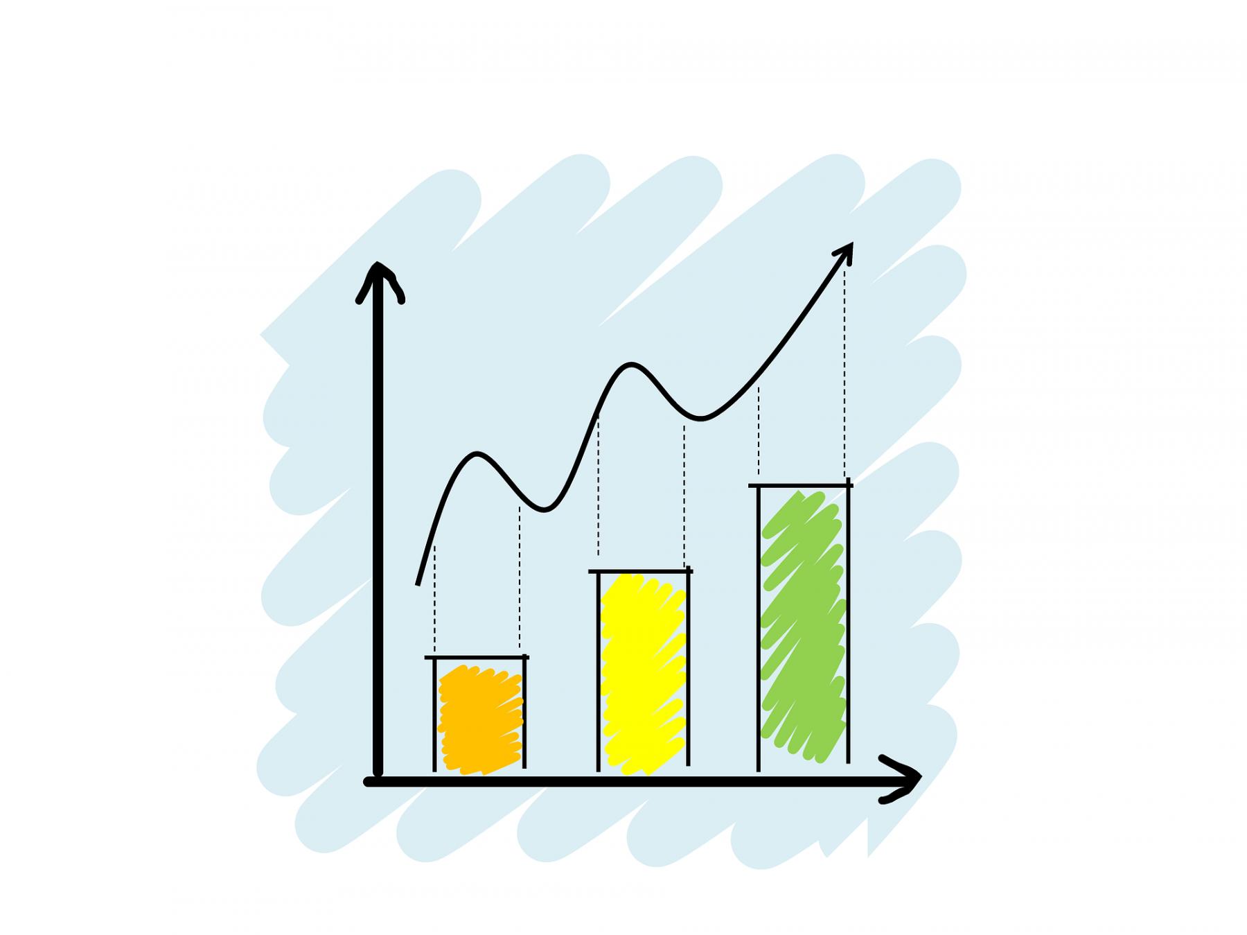 En ritad graf med uppåtgående kurva